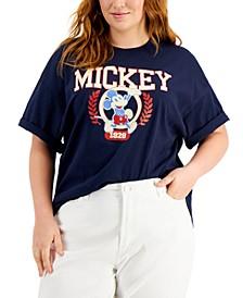 Trendy Plus Size Mickey University Cotton T-Shirt