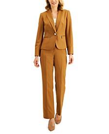 Tonal Stripe Zip-Pocket Pantsuit