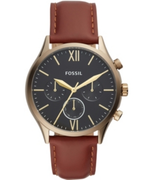 FOSSIL MEN'S FENMORE MULTIFUNCTION BROWN LEATHER WATCH 44MM