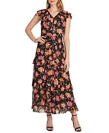 Floral-Print Cascading Ruffled Maxi Dress
