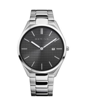 Men's Ultra Slim Silver-Tone Stainless Steel Bracelet Watch 40mm