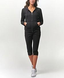 Women's Long Sleeve Zip Hoodie with Raw Edge Details