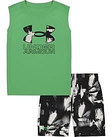 Little Boys Rattleaid Sleeveless Logo Tee and Shorts Set