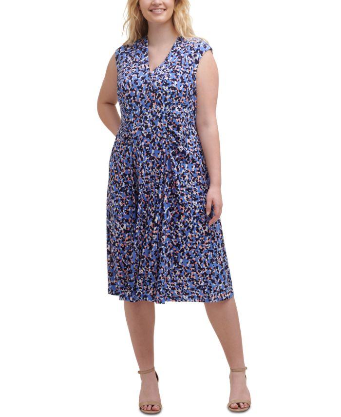 Vince Camuto Plus Size V-Neck Ruched Dress & Reviews - Dresses - Plus Sizes - Macy's