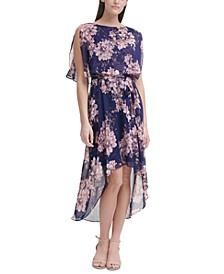 Petite Floral-Print High-Low Dress