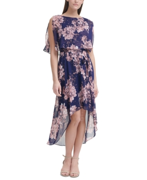 Popover Floral-Print High-Low Maxi Dress