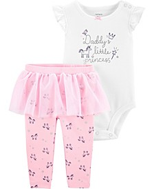 Baby Girls Daddy's Little Princess Bodysuit Tutu Pant, 2 Piece Set