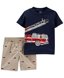 Baby Boys Fire Truck Jersey T-shirt Short, 2 Piece Set