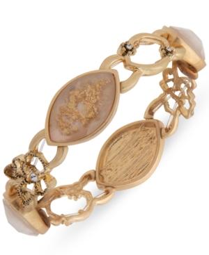 Gold-Tone Pave & Stone Open Flower Stretch Bracelet