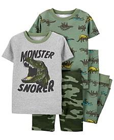 Little Boys Dinosaur Snug Fit Pajama, 4 Piece Set