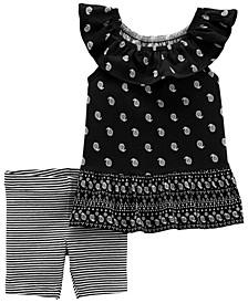 Baby Girls Paisley Jersey T-shirt Bike Short, 2 Piece Set