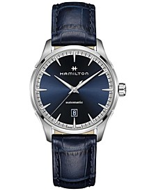 Men's Swiss Automatic Jazzmaster Blue Leather Strap Watch 40mm