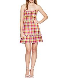 Plaid Square-Neck Cami Dress