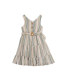 Little Girls Stripe Dress with Removable Belt