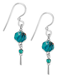 Jody Coyote Sterling Silver Teal Bead Drop Earrings