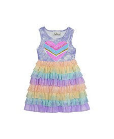 Little Girls Rainbow Tie Dye Mesh Tiered Dress with Sequin Applique