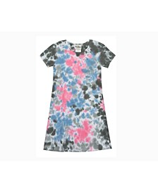 Big Girls Tie Dye Rib Knit T-Shirt Dress