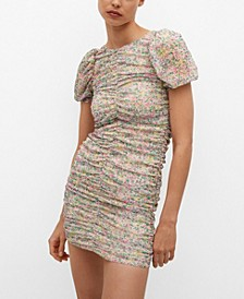 Women's Ruched Floral Dress