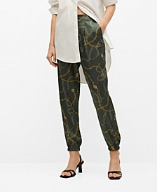 Satin-Finish Pants with Pleat Detail