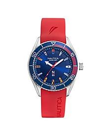 Men's N83 Basic Analog Red Silicone Strap Watch 44 mm