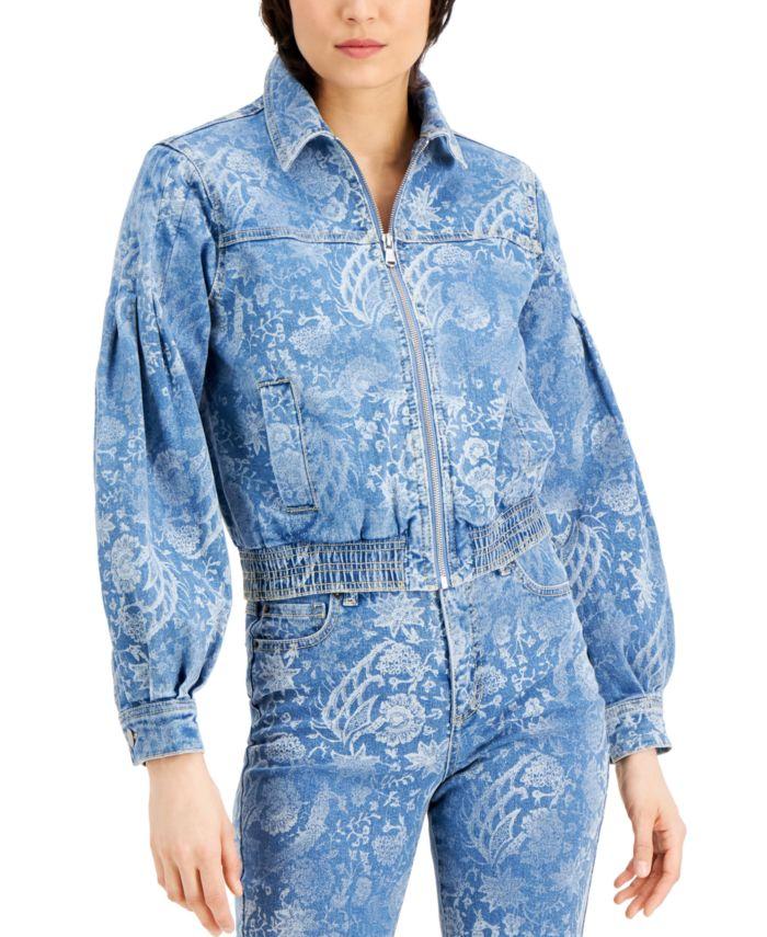 INC International Concepts INC Printed Volume-Sleeve Jean Jacket, Created for Macy's & Reviews - Jackets & Blazers - Women - Macy's