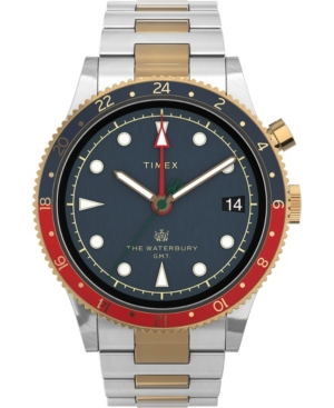 TIMEX MEN'S WATERBURY TRADITIONAL GMT TWO-TONE STAINLESS STEEL BRACELET WATCH 39MM