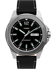 Men's Essex Avenue Black Leather Strap Watch 44mm