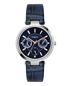 Traditional Women's Blue Leather Strap Watch 34mm