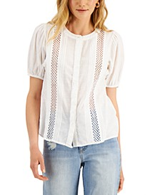 INC Petite Cotton Pintucked Blouse, Created for Macy's