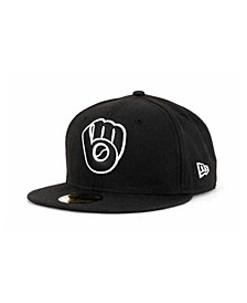 Milwaukee Brewers MLB Black and White Fashion 59FIFTY Cap