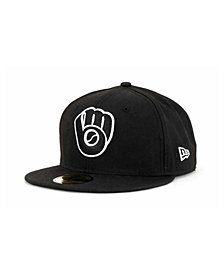New Era Milwaukee Brewers MLB Black and White Fashion 59FIFTY Cap