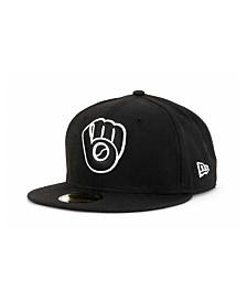 New Era Milwaukee Brewers MLB Black and White Fashion 59FIFTY Cap