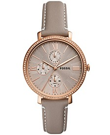 Women's Jaqueline rose gold tone multifunction movement, gray leather watch 38mm