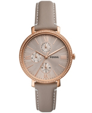 FOSSIL WOMEN'S JAQUELINE ROSE GOLD TONE MULTIFUNCTION MOVEMENT, GRAY LEATHER WATCH 38MM