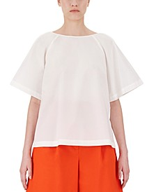 Torre Mixed-Media Bell-Sleeve Top
