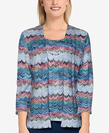 Plus Size Bryce Canyon Casual Textured 2 for 1 Top with Necklace