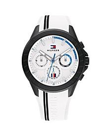 Men's White Silicone Strap Watch 44mm