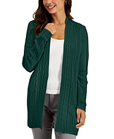 Cotton Cable-Knit Open Cardigan, Created for Macy's