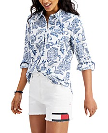 Floral Button-Front Shirt