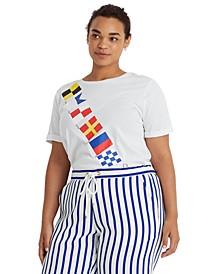 Plus-Size Flag-Print Jersey T-Shirt