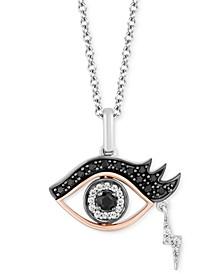 Onyx & Diamond (1/6 ct. t.w.) Cruella Eye Pendant Necklace in Sterling Silver & 14k Rose Gold, & Black Rhodium-Plate