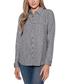 Black Label Striped Long Sleeve Collared Button Up Shirt Top with Pocket