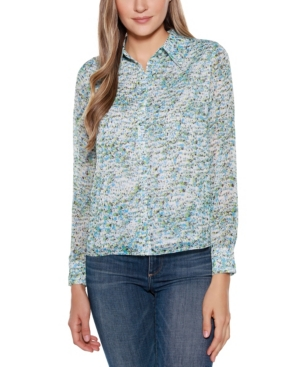Black Label Floral Print Long Sleeve Collared Button Up Shirt Top