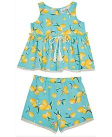 Big Girls Lemon Printed Shorts Set