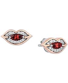 Rhodolite Garnet (1/5 ct. t.w.) & Diamond (1/6 ct. t.w.) Cruella Lips Stud Earrings in Sterling Silver & 14k Rose Gold