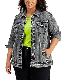 Plus Size Vintage-Inspired Denim Jacket, Created for Macy's