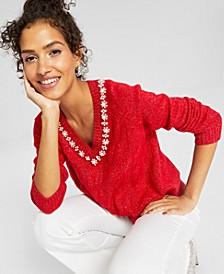 Embellished Metallic V-Neck Sweater, Created for Macy's