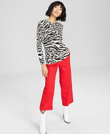 Cashmere Animal-Print Sweater, Created for Macy's