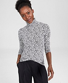 Cashmere Printed Turtleneck Sweater, In Regular and Petites, Created for Macy's