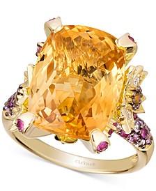 Multi-Gemstone (11 ct. t.w.) & Vanilla Diamond (1/4 ct. t.w.) Statement Ring in 14k Gold